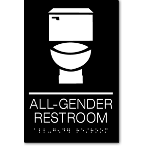 "A black sign that reads ""All Gender Restroom"" in white. Above the text are icons of a toilet. Below the text is a braille translation of the text."