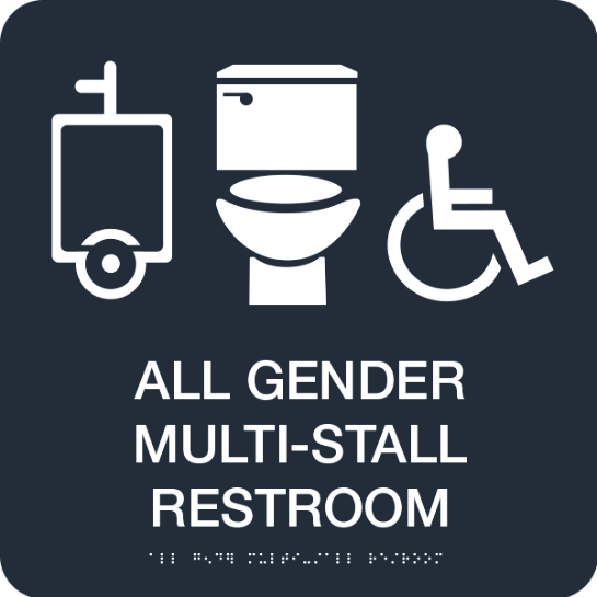 "A black sign that reads ""All Gender Multi-Stall Restroom"" in white. Above the text are icons of a urinal, a toilet, and a person using a wheelchair. Below the text is a braille translation of the text."